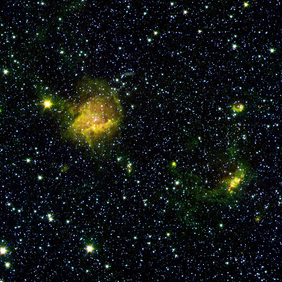 beastly stars and a bubble nasa spitzer space telescope
