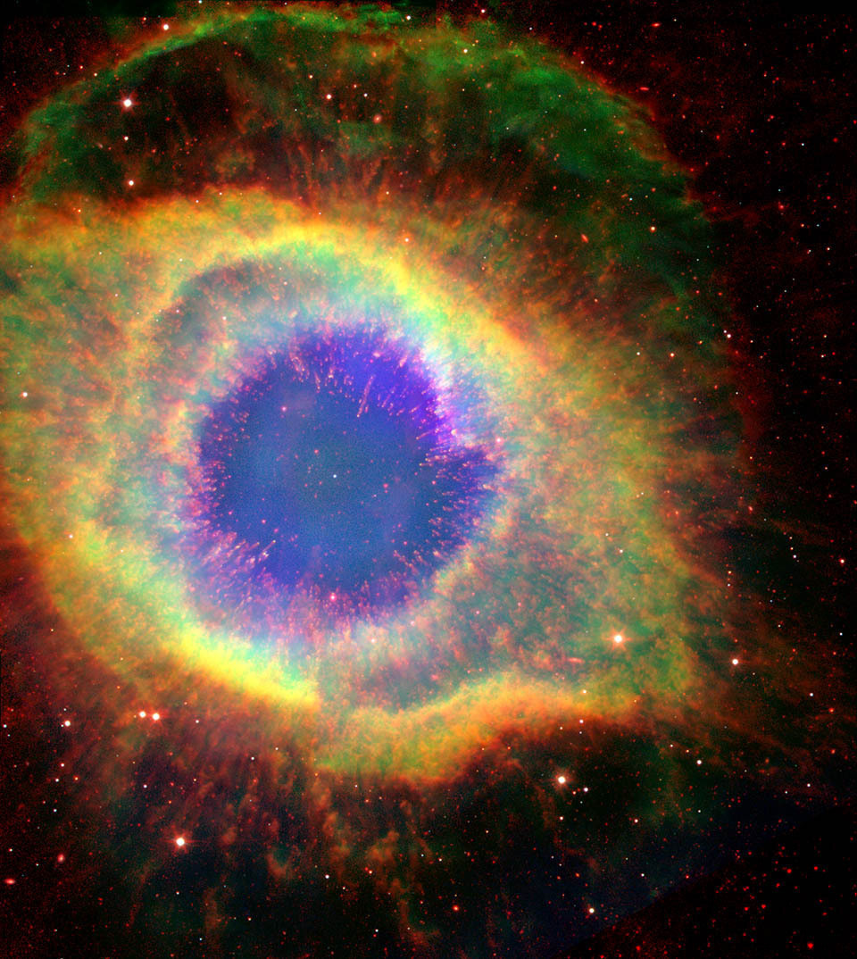 Spitzer And Hubble View Of The Helix Nebula