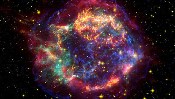 Cassiopeia A is the remnant of a once massive star that died in a violent supernova explosion 325 years ago. Spitzer observed it in 2003 and 2004.
