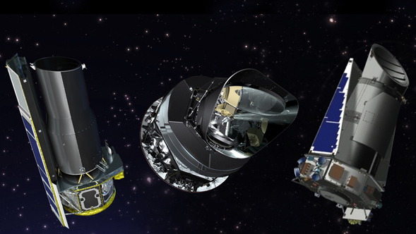 From left to right, artist's concepts of the Spitzer, Planck and Kepler space telescopes.